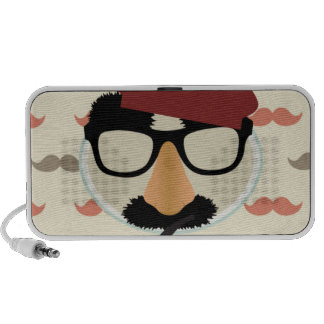 Mustache Disguise Glasses Pipe Beret Face Speaker