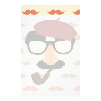 Mustache Disguise Glasses Pipe Beret Face Custom Stationery