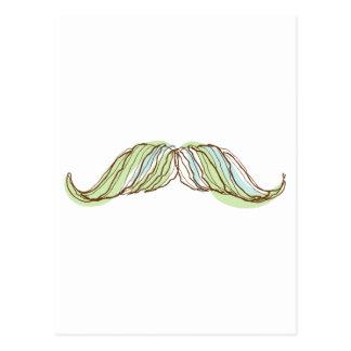 Mustache doodle, drawing, illustration postcard