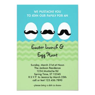 """Mustache Easter Eggs Invitation 5"""" X 7"""" Invitation Card"""