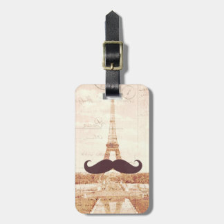 Mustache Eiffel Tower Bag Tag