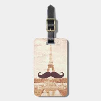 Mustache Eiffel Tower Bag Tag