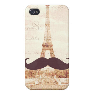 Mustache Eiffel Tower Case For iPhone 4