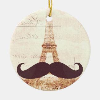 Mustache Eiffel Tower Ceramic Ornament