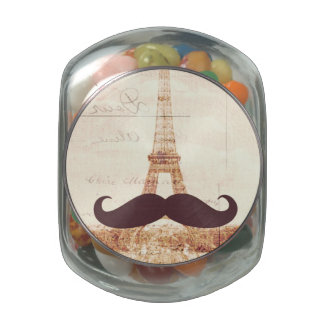 Mustache Eiffel Tower Glass Jars