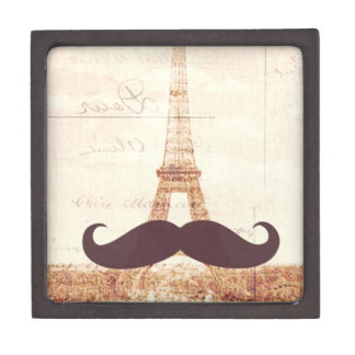 Mustache Eiffel Tower Keepsake Box