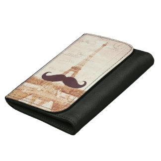 Mustache Eiffel Tower Leather Wallet For Women