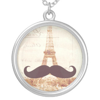 Mustache Eiffel Tower Silver Plated Necklace