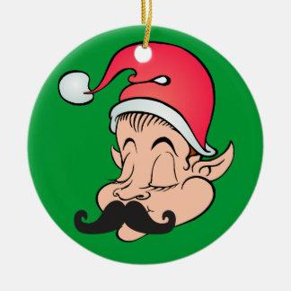 Mustache Elf Ceramic Ornament