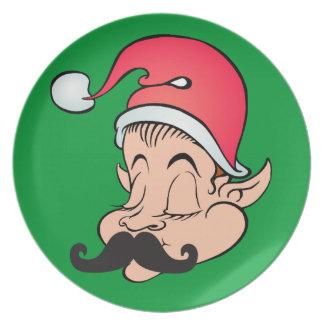 Mustache Elf Plate