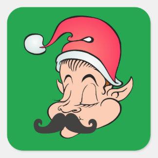 Mustache Elf Square Sticker