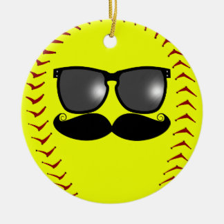 Mustache Fastpitch Softball Ornament