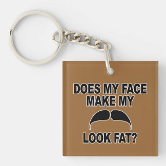 Mustache Fat Single-Sided Square Acrylic Keychain
