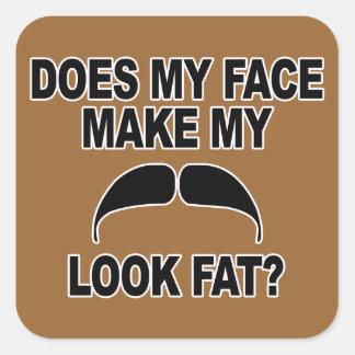 Mustache Fat Square Sticker