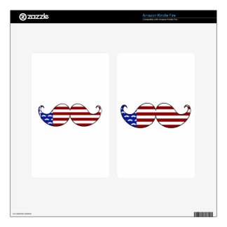 Mustache Flag for Fourth of July Independence Day Skin For Kindle Fire