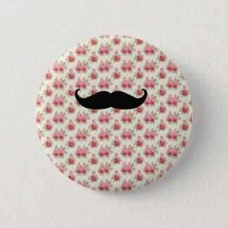 Mustache floral badge pinback button