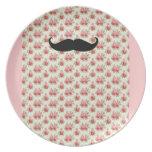 Mustache floral plate