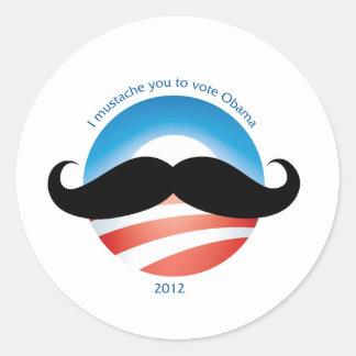 Mustache for Obama - 2012 Classic Round Sticker