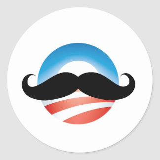 Mustache for Obama Classic Round Sticker