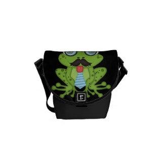 Mustache Frog Messenger Bags