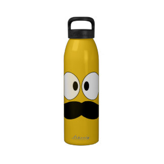 Mustache Funny Face With Eyes Water Bottle