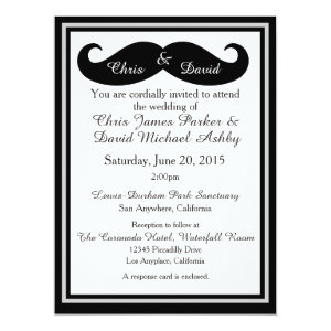 Mustache Gay Wedding Invitation