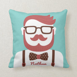Cotton Throw Pillow with Iconic Cowboy Moustache design