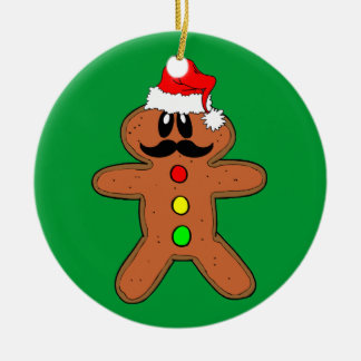 mustache gingerbread man ceramic ornament