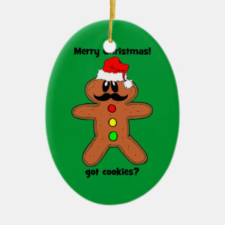 mustache gingerbread man Double-Sided oval ceramic christmas ornament