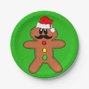 mustache gingerbread man paper plate  sc 1 st  Zazzle & Funny Gingerbread Man Christmas Plates | Zazzle