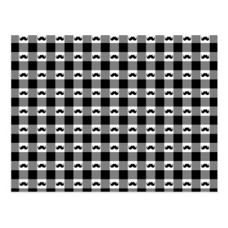 Mustache Gingham Pattern - Cute! Postcard