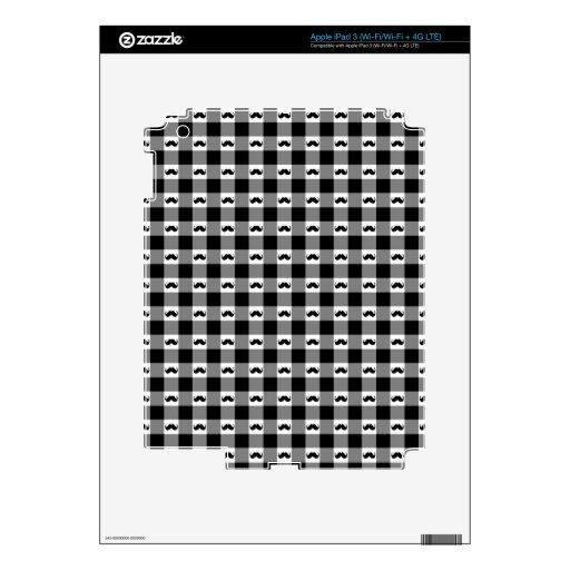 Mustache Gingham Pattern - Cute! Skins For iPad 3