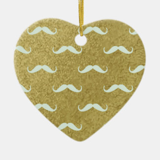 mustache,gold,mint,hipster,pattern,trendy,fun,mode Double-Sided heart ceramic christmas ornament