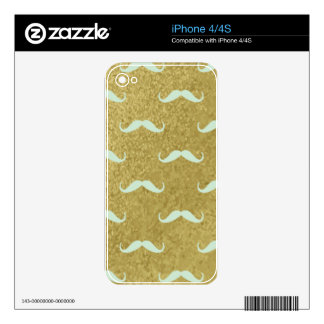 mustache,gold,mint,hipster,pattern,trendy,fun,mode decal for the iPhone 4S