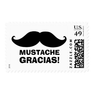 """Mustache Gracias"" custom postage"
