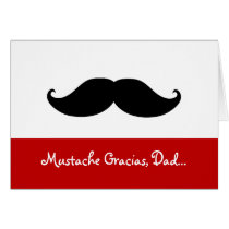 Mustache Gracias Dad, Father's Day Card