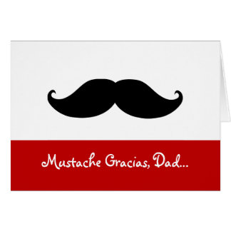 Mustache Gracias Dad, Father's Day Card Note Card