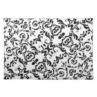 Mustache Graphic Art Design Damask Fabric Print Place Mat