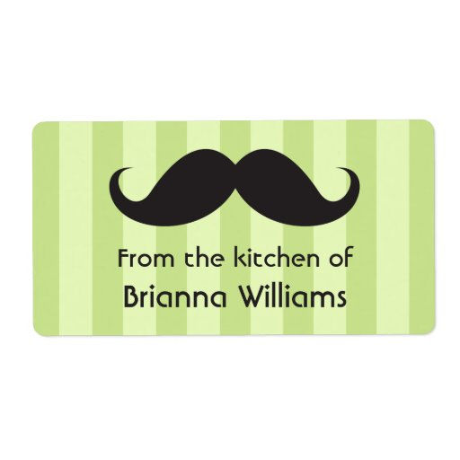 Mustache green stripes from the kitchen of labels