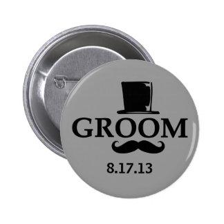 Mustache Groom 2 Inch Round Button