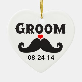 Mustache Groom Ceramic Ornament