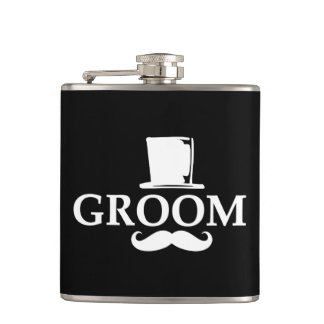 Mustache Groom Hip Flask