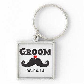 Mustache Groom Keychain