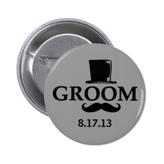 Mustache Groom Pinback Buttons