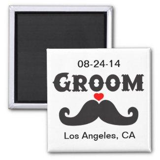 Mustache Groom Refrigerator Magnet