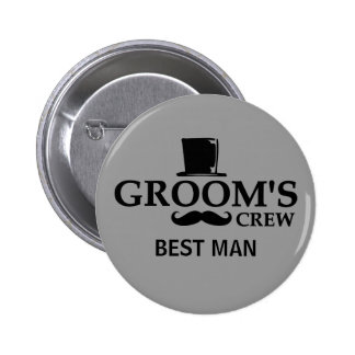 Mustache Groom s Crew Buttons