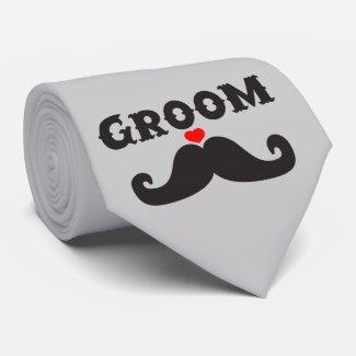 Mustache Groom Tie