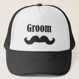 Mustache Groom Trucker Hat