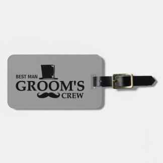 Mustache Groom's Crew Bag Tag