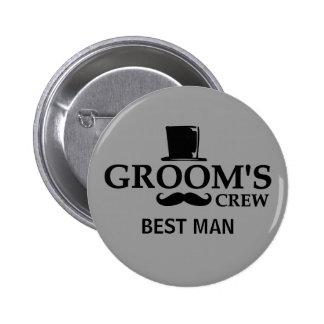 Mustache Groom's Crew Button